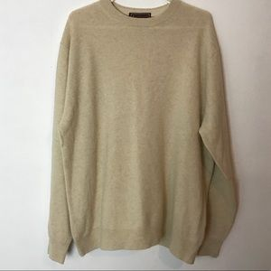 PATRICK JAMES 100% Cashmere Cream Crewneck Size XL